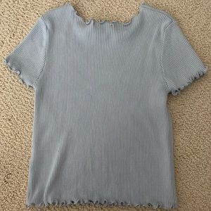 Brandy Melville Tops - Blue Ribbed Top with Lettuce Edge